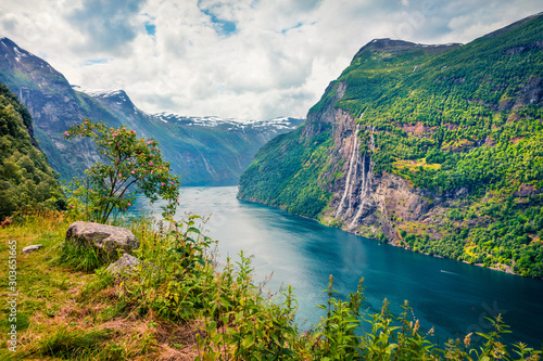 Sublime summer scene of Sunnylvsfjorden fjord, Geiranger village location, western Norway Canvas Print