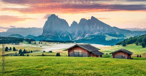 Perfect morning scene of Compaccio village, Seiser Alm or Alpe di Siusi location, Bolzano province, South Tyrol, Italy, Europe Tablou Canvas