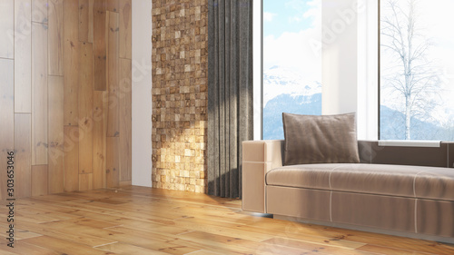 Obraz Modern design living room interior with beautiful view . 3D rendering - fototapety do salonu