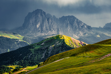 Picturesque morning scene of Gardena valley, Dolomiti Alps. Beauty of nature concept background