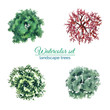 Leinwanddruck Bild - Kit of crowns of landscape trees for design design top view watercolor fill