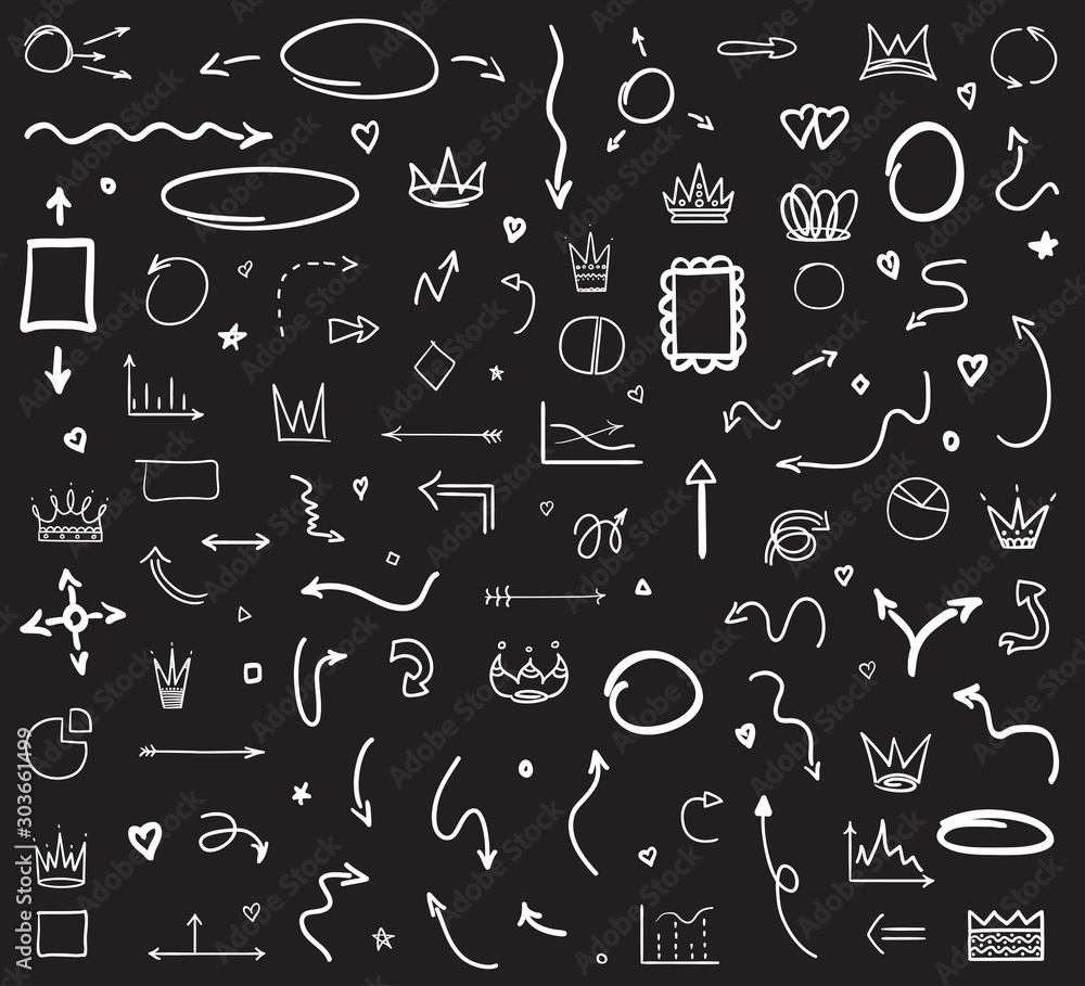 Fototapety, obrazy: Infographic elements on isolated black background. Hand drawn wavy arrows. Set of different signs. Black and white illustration
