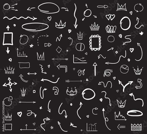 Cuadros en Lienzo  Infographic elements on isolated black background