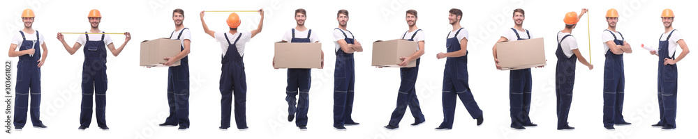 Fototapeta panoramic collage of skilled handyman isolated on white