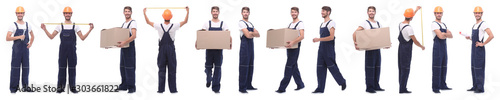 Fotografía  panoramic collage of skilled handyman isolated on white