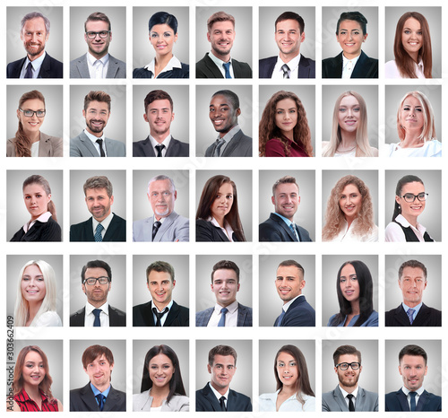 Obraz collage of portraits of successful young businessmen - fototapety do salonu