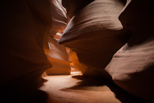 Different Views Of A Slot Canyon With Red Rocks
