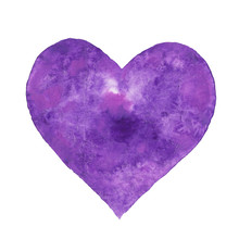 Heart Shape Hand Drawn Illustration. Violet And Lilac Textured Watercolor Heart On The White Background Isolated