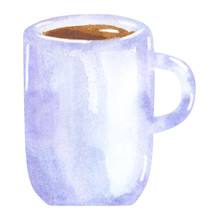 Blue Cup With Tea Or Coffee, H...