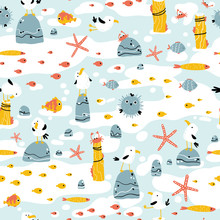 Sea Pattern With Funny Gulls On The Rocks And Marine Animals. Vector Seamless Background In Hand-drawn Cartoon Style. Childish Scandinavian Illustration.