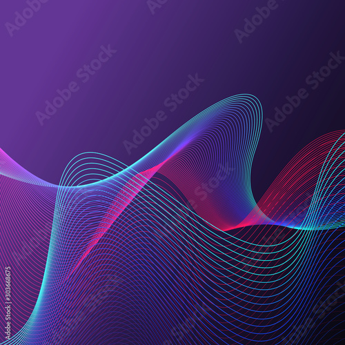 Abstract background with waved waves and lines. Fotobehang