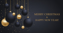 Christmas Dark Blue Background With Christmas Golden And Blue Balls. Happy New Year Decoration. Elegant Xmas Banner Or Poster. Vector