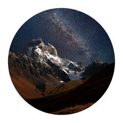 Panel Szklany Góry Round icon of nature with landscape. Night view of Ushba mountain with dark starry sky, Caucasus mountains, Upper Svaneti, Europe. Photography in a circle.