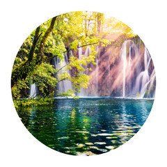 Panel Szklany Wodospad Round icon of nature with landscape. Last sunlights up the pure water waterfall in Plitvice National Park. Colorful spring scene of Croatia, Europe. Photography in a circle.