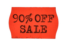 90 OFF Percent Sale Red Price Tag Sticker Isolated