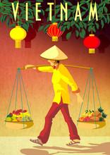 Vietnamese Woman Carrying Frui...