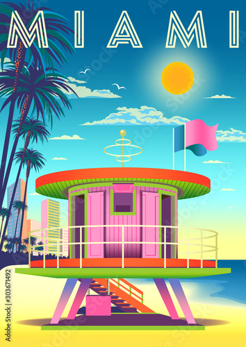 Fotografie, Obraz On a sunny day on a beach in Miami with a rescue tower in the foreground, hotels, palms and the sea in the background
