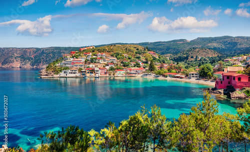 Fototapety, obrazy: Impressive morning cityscape of Asos village on the west coast of the island of Cephalonia, Greece, Europe. Colorful summer sescape of Ionian Sea. Traveling concept background.