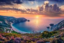 Unbelievable Summer View Of Petani Beach. Majestic Sunset On Cephalonia Island, Greece, Europe. Beautiful Evening Seascape Of Mediterranen Sea. Fantastic Outdoor Scene Of Ionian Islands.