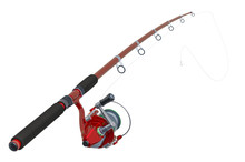 Red Fishing Rod, 3D Rendering