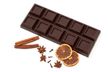 Dark Chocolate, Dried Orange, Anise, Cinnamon, Cloves - Composition. Isolated On White Background