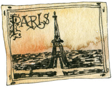 Old Vintage Postcard From Trip In Ochre Colours With Black Contours