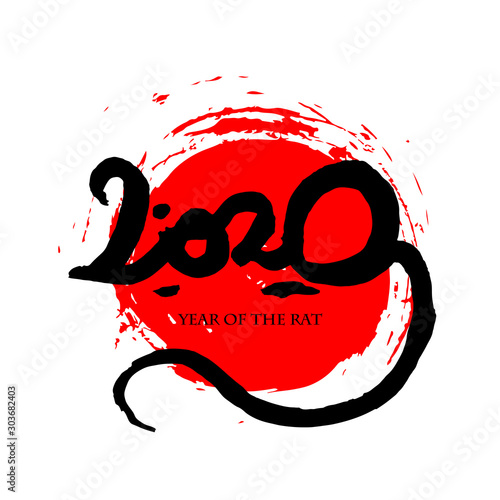greeting card with handmade lettering 2020 in shape of a rat on a red solar disk fotolia