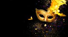 Masquerade Mask On Black Backg...