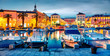 canvas print picture - Colorful evening cityscape of Split town.Splendid summer sunset in Croatia, Europe. Beautiful world of Mediterranean countries. Traveling concept background.