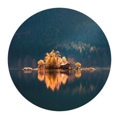Fototapeta Rzeki i Jeziora Round icon of nature with landscape. Great autumn scene of Eibsee lake. Small island on bottom of the Zugspitze peak, Bavaria, Germany, Europe. Photography in a circle. .
