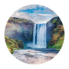 Panel Szklany Wodospad Round icon of nature with landscape. Wonderful summer view of Skogafoss Waterfall on Skoga river, Iceland, Europe. Photography in a circle. .