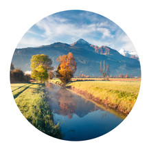 Round Icon Of Nature With Land...