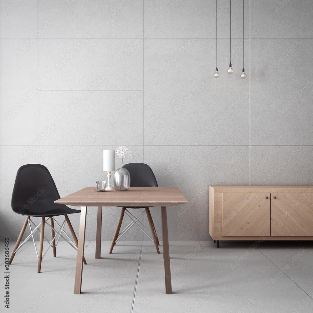 Fototapeta living room cabinet & concrete wall / 3D rendering interior