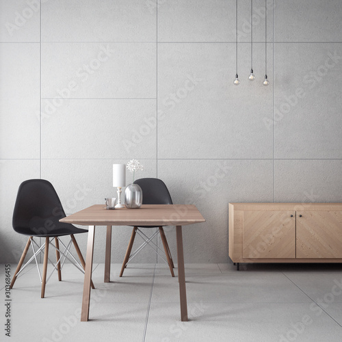 living room cabinet & concrete wall / 3D rendering interior Canvas Print