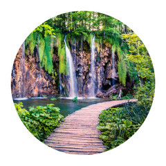 Panel Szklany Wodospad Round icon of nature with landscape. Captivating morning view of Plitvice National Park. Colorful spring scene of green forest with pure water waterfall, Croatia, Europe. Photography in a circle. .