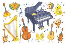 Set Of Funny Musical Instrumen...