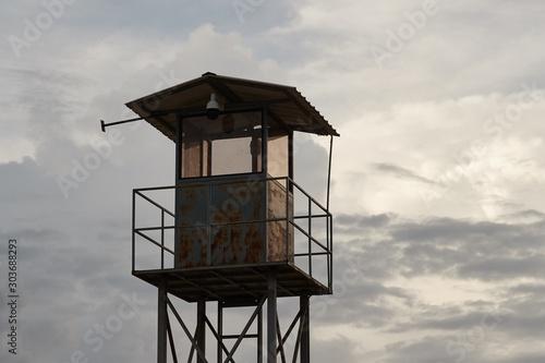 Watchpost on a bushland in foggy weather Slika na platnu