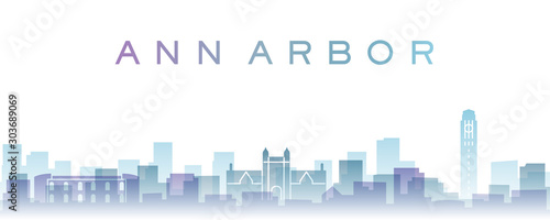 Ann Arbor Transparent Layers Gradient Landmarks Skyline Canvas Print