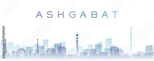 Ashgabat Transparent Layers Gradient Landmarks Skyline Canvas Print