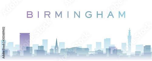 Birmingham Transparent Layers Gradient Landmarks Skyline Wallpaper Mural