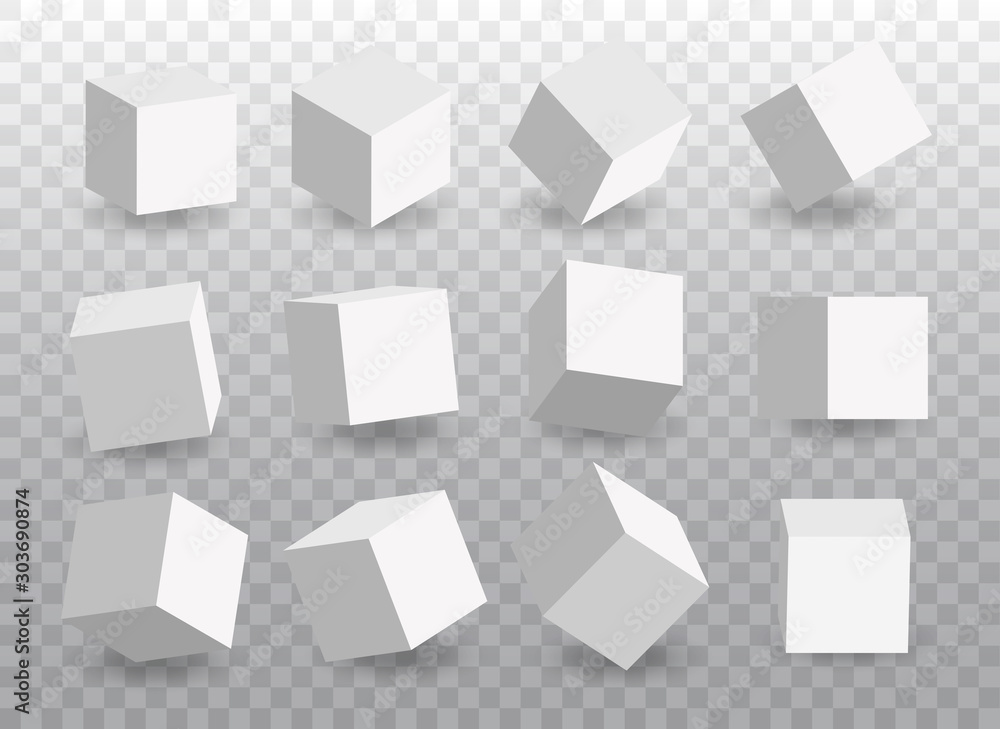 Fototapety, obrazy: Set of white vector 3d cubes. Cube icons in a perspective. Geometric  blocks with shadow. Vector illustration isolated on tranparent background.