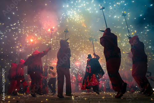 Fireworks called correfocs, a traditional performance of catalan culture Canvas Print