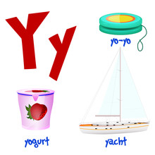 Vector Cute Kids Cartoon Alphabet. Letter Y With Yo-Yo,Yogurt And Yacht. Flat Style.