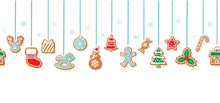 Christmas Gingerbread Cookies Garlands. Horizontal Seamless Pattern With Traditional Decorative Elements. Vector