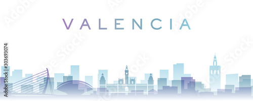 Valencia Transparent Layers Gradient Landmarks Skyline
