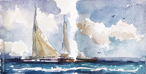 Sailboats in sea hand drawn watercolor illustration.