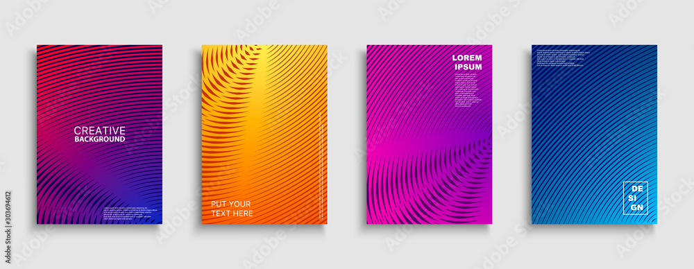 Fototapeta Creative colorful minimalistic covers, templates, posters, placards, brochures, banners, flyers and etc. Abstract geometric halftone backgrounds with gradient. Digital striped tredny design