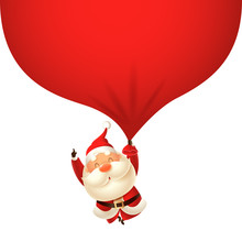 Cute Santa Claus Falling With ...
