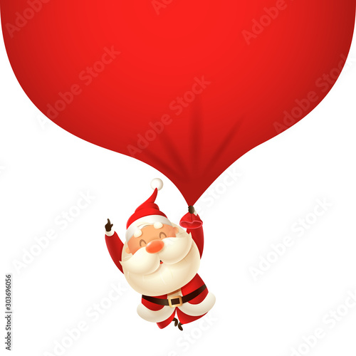 Cute Santa Claus falling with huge gift bag - vector illustration isolated on tr Wallpaper Mural