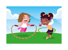 Girls Smiling And Playing With Skipping Rope